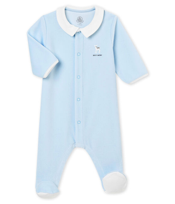 Baby boy's plain cotton velour sleepsuit Fraicheur blue
