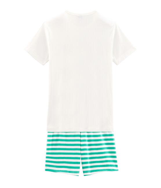 Boys' Ribbed Short Pyjamas Esperanza green / Marshmallow white
