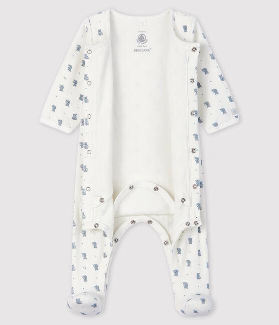 Baby Boys' Koala Print Velour Bodyjama Marshmallow white / Multico white