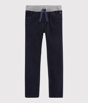 Boys' Velvet Trousers Smoking blue