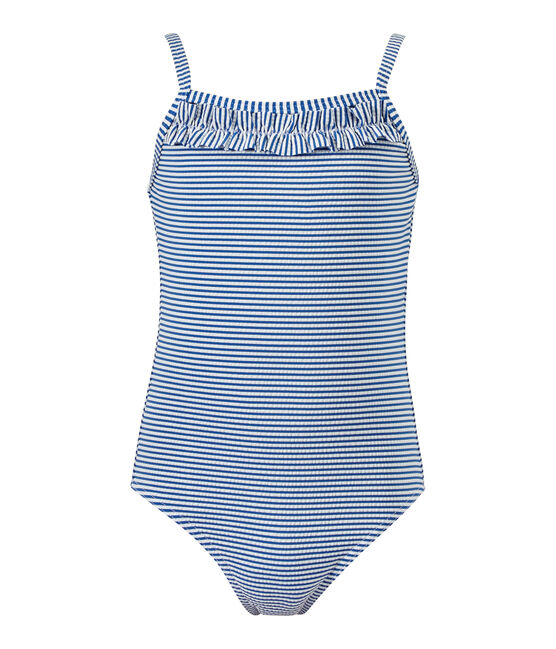 Girl's striped one-piece swimsuit Perse blue / Marshmallow white
