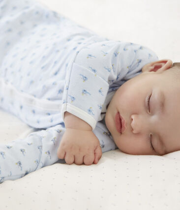 Babies' Ribbed Jumpsuit/Sleeping Bag Fraicheur blue / Multico white