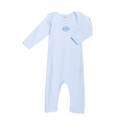 Baby boy long-legged bodysuit in milleraies stripe Fraicheur blue / Ecume white