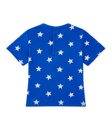 Baby boy's print T-shirt Perse blue / Marshmallow white