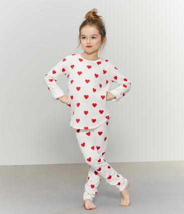 Girls-Boys' Fleece Pyjamas Marshmallow white / Terkuit red