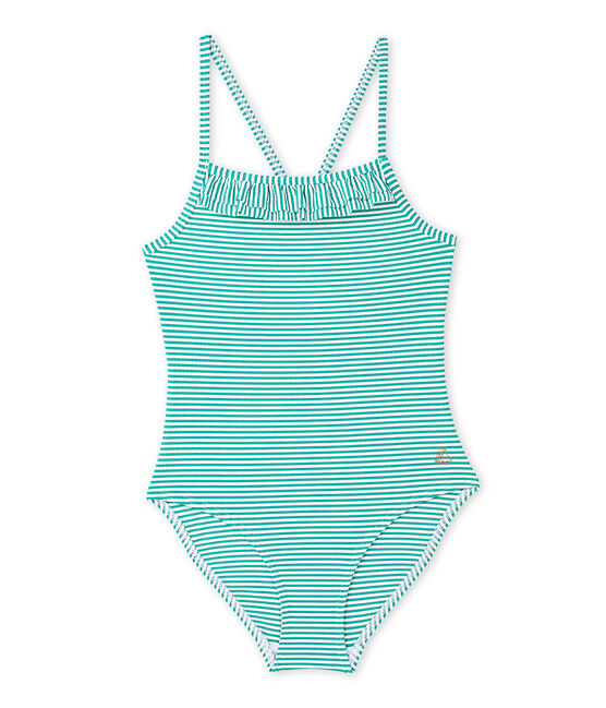 Girl's one-piece swimsuit Flag green / Lait white