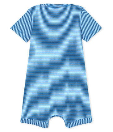 Baby boys' pinstriped Shortie Riyadh blue / Marshmallow white