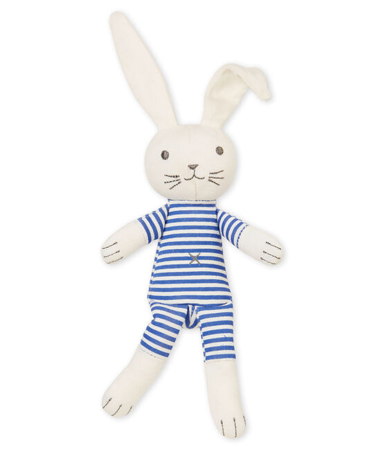 Unisex baby rabbit rattle comforter Smoking blue / Marshmallow white