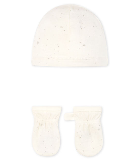 Newborn Babies' Bonnet and Mittens Set in Tube Knit . set