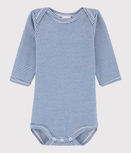 Unisex Babies' Long-Sleeved Bodysuit Limoges blue / Marshmallow white