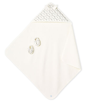 Unisex Babies' Square Bath Towel and Bootees in Terry and Rib Knit MARSHMALLOW/SCULPTURE/MULTICO