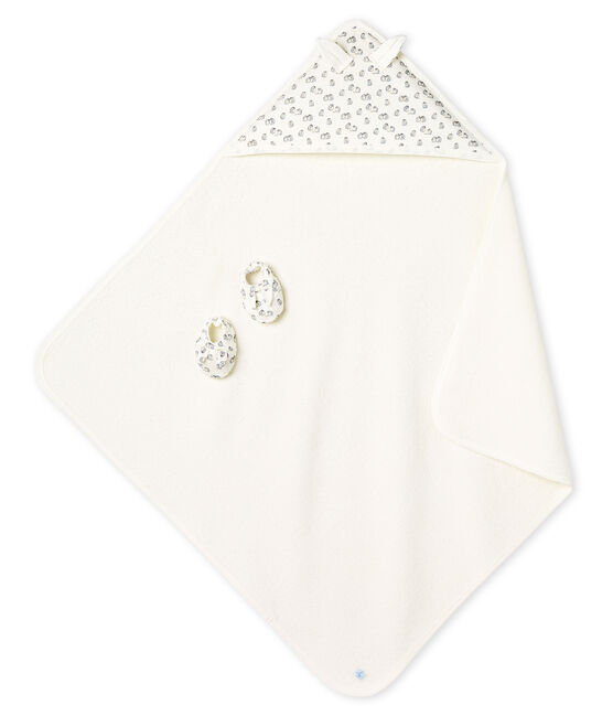 Unisex Babies' Square Bath Towel and Bootees in Terry and Rib Knit Marshmallow white / Sculpture grey