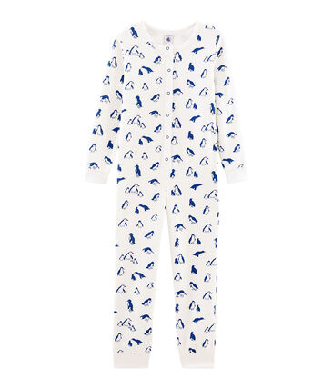 Unisex Long Jumpsuit in Extra Warm Brushed Terry Towelling Marshmallow white / Major blue