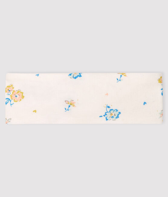 Baby Girls' Rib Knit Floral Headband Marshmallow white / Multico white