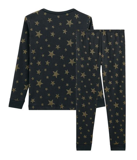 Girls' Snugfit Ribbed Pyjamas Capecod grey / Or yellow