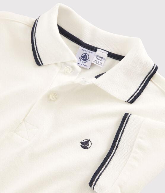 Boys' Short-sleeved Polo Shirt Marshmallow white