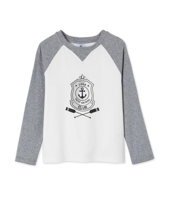 Boy's long sleeved screen print T-shirt Marshmallow white / Subway grey