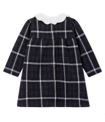 Baby Girls' Long-Sleeved Checked Dress City black / Multico white
