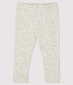 Baby girl's leggings in plain 1x1 rib knit Montelimar Chine grey