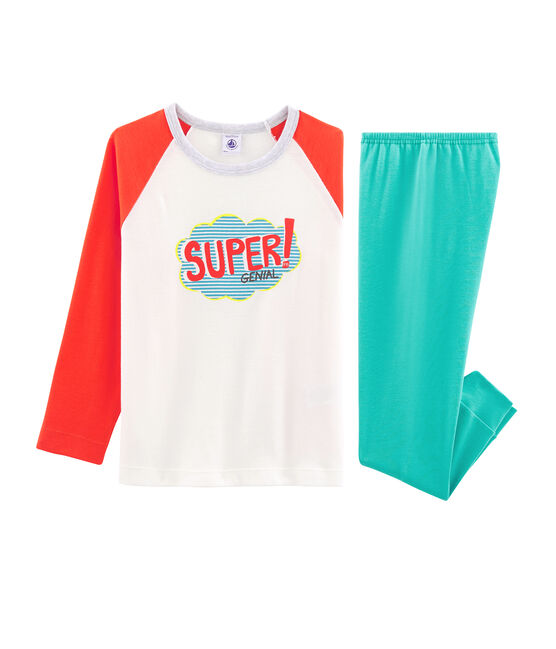 Boys' Ribbed Pyjamas Esperanza green / Multico white