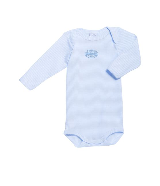 Baby boy long-sleeve bodysuit in milleraies stripe Fraicheur blue / Ecume white