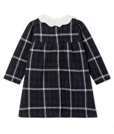 Baby Girls' Long-Sleeved Checked Dress City black / Multico white