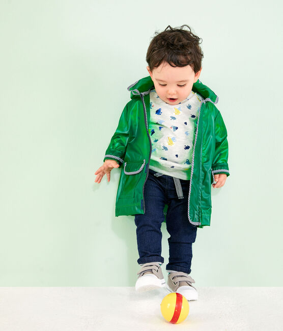 Unisex transparent waxed coat for babies Prado green