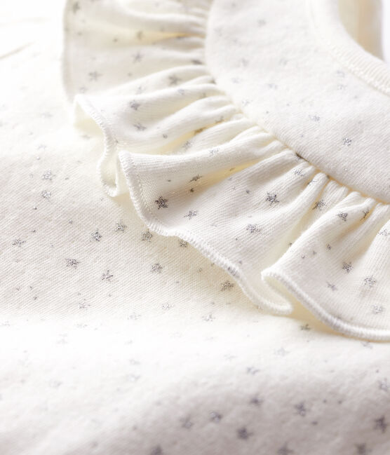 Baby girl's long-sleeved blouse Marshmallow white / Argent grey