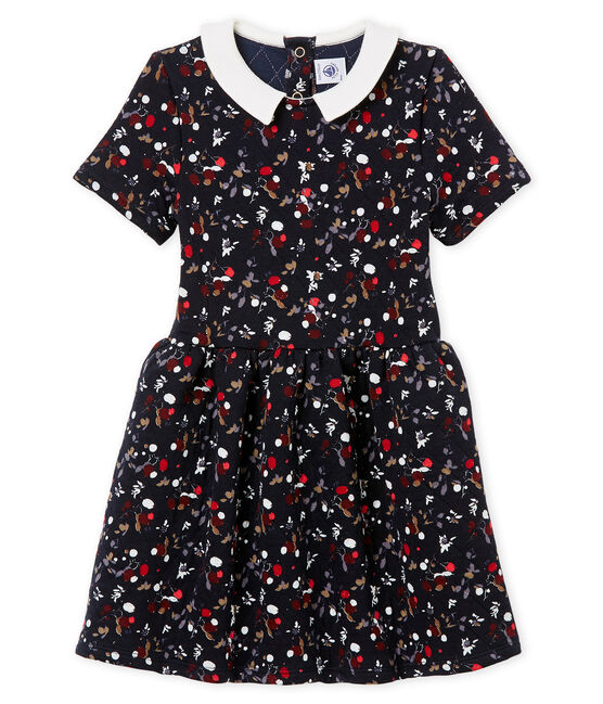 Girl's short sleeved dress Smoking blue / Multico white
