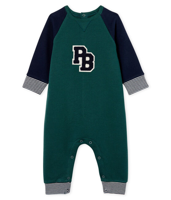 Baby Boys' Long Fleece Jumpsuit Sousbois green / Smoking blue