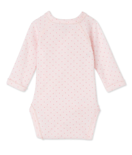 Newborn baby girls' long-sleeved bodysuit in wool and cotton Vienne pink / Gretel pink