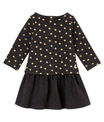 Baby girl's dual fabric dress with gold polka dots