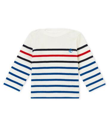 Baby boy's placed stripe T-shirt Marshmallow white / Multico white