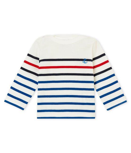Baby boy's placed stripe T-shirt Marshmallow white / Multico white