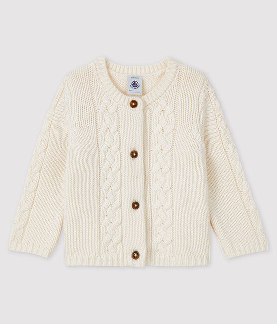 Baby girl's wool and cotton cardigan Marshmallow white