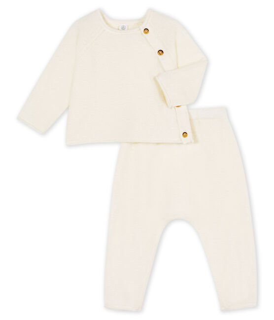 Babies' Clothing in Cotton/Merino Wool/Polyester - 2-Piece Set Marshmallow white