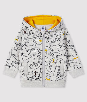 Baby boy's hooded sweatshirt Beluga grey / Multico white