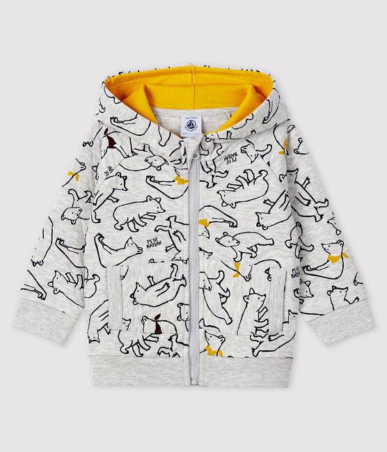 Baby boy's hooded sweatshirt Beluga grey / Multico white