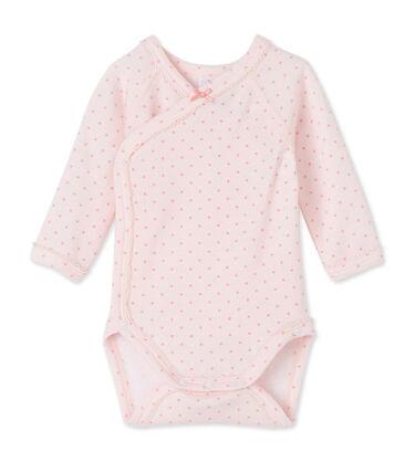 Newborn baby girls' long-sleeved bodysuit in wool and cotton Vienne pink / Gretel pink