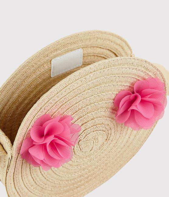 Girls' Round Straw Bag with Shoulder Strap Naturel pink