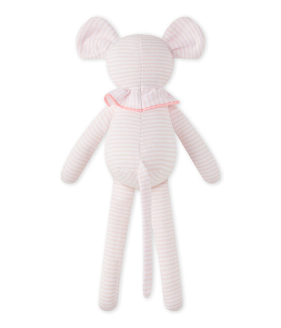 Mouse comfort object in milleraies stripes Vienne pink / Ecume white