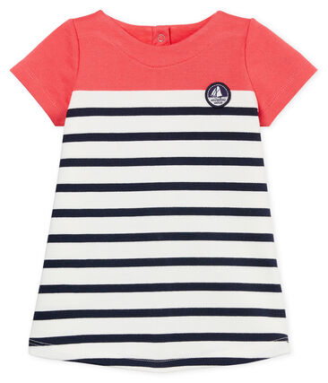 Baby girls' dress with striped section