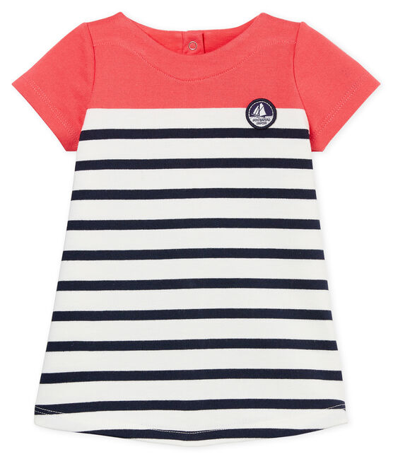 Baby girls' dress with striped section Marshmallow white / Crystal blue