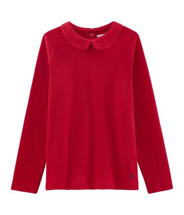 Girl's T-shirt with Peter Pan collar Froufrou red