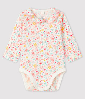 Baby Girls' Floral Ribbed Bodysuit with Collar Marshmallow white / Multico white