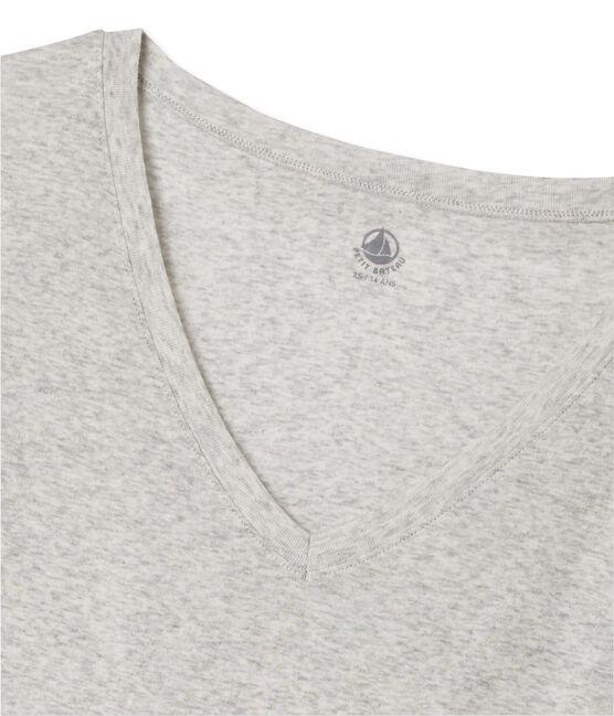 T-shirt femme col V en coton léger Beluga Chine grey