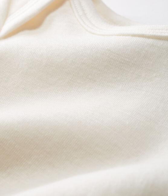 Babies' White Long Bodysuit in Cotton/Wool Ecru beige