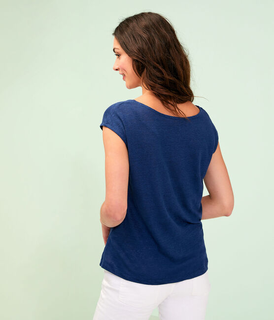 Women's Linen T-Shirt Medieval blue