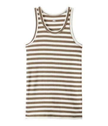 Women's vest top in heritage striped rib Shitake brown / Marshmallow white
