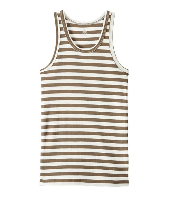 Women's vest top in heritage striped rib Shitake brown / Marshmallow white
